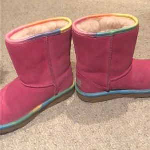 f9762f2d3de Girls Pink Uggs with rainbow trim size 1